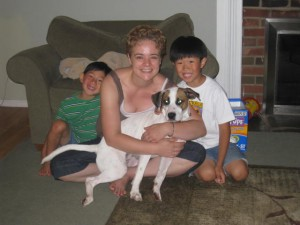 Jennifer with her kids and dog