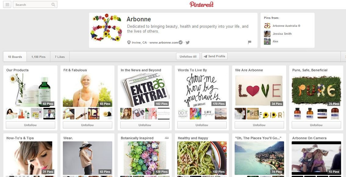 Arbonne's Pinterest account offers a variety of lifestyle content mixed with product