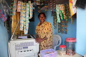 Roopa Chalvadi, Photocopy Business Owner Roopa Chalvadi has made a small new begining with her children. A resilient woman in her late 50's, she has started her own photocopying business which pays for her children's education. Photo Credit: Milaap